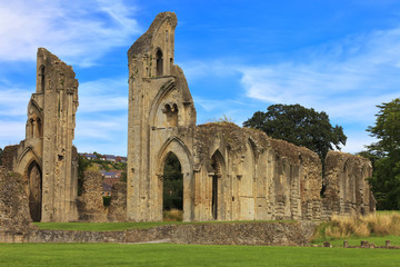 The historic ruins of Glastonbury Abbey in Somerset, England