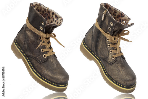 The high leather boots Isolated on white background