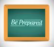 be prepared message written on a blackboard.