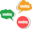 vending word on modern banner design template. set of stickers