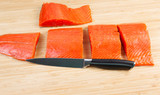 Wild Salmon Cut in Pieces for Cooking