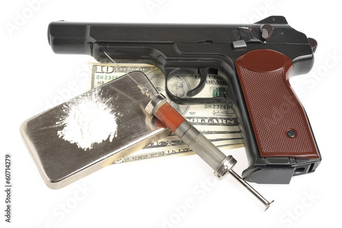 Drugs, syringe with blood, pistol and money