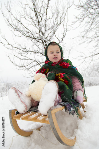 Girl on a sled