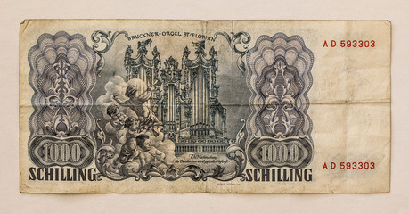 Old Austrian Banknote: 1000 Schilling 1954