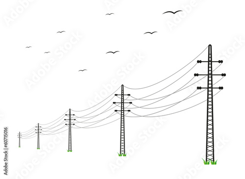 high voltage power lines - 60715016