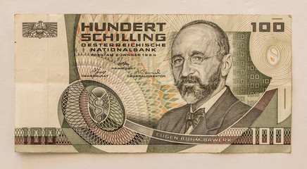 Old Austrian Banknote: 100 Schilling 1984