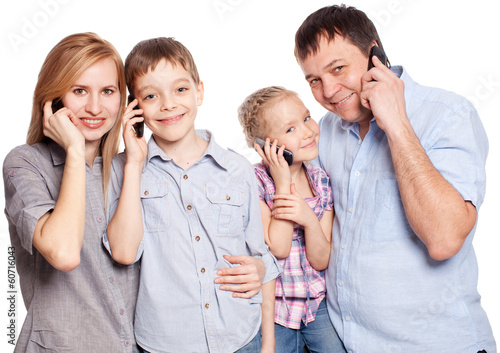 Parents with children with mobile phone