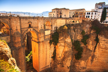 New bridge landmark and gorge in Ronda village. Andalusia, Spain