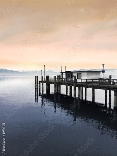 canvas print picture Steg am See