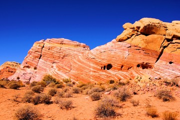 Vibrant patterned red rocks at Valley of Fire, Nevada, USA
