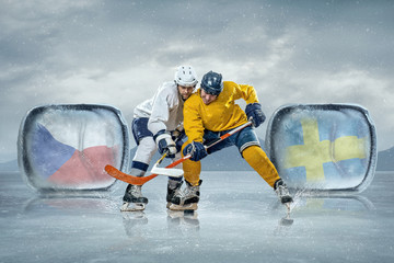 Ice hockey players in the ice