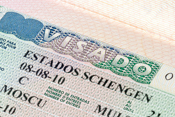 Spain Schengen visa in the passport