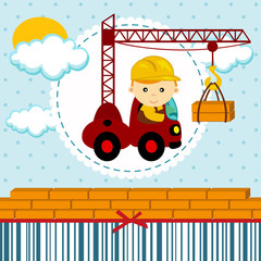 baby boy  builder - vector illustration