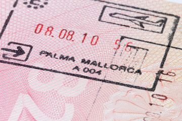 Mallorca immigration stamp in passport
