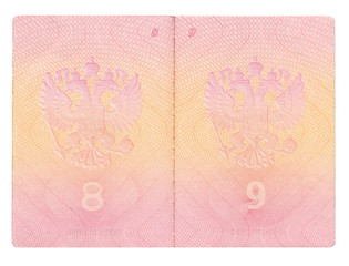 Opened Russian passport isolated on white with clipping path