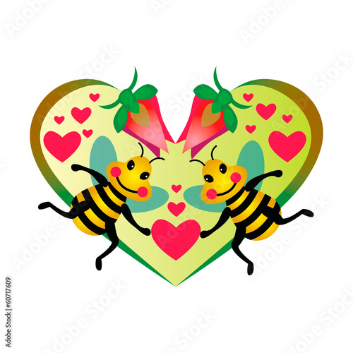 Two funny bees against floral heart on background.