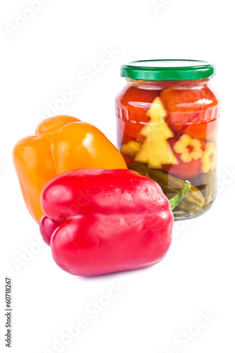 Bulgarian pepper, pickled cucumbers and tomatoes