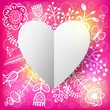 Floral and Paper Heart background. Vector illustration