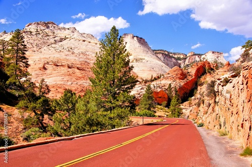 Scenic road through Zion National Park, USA