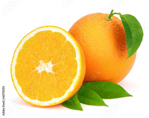 Ripe oranges with leaves.