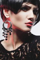 Sexy Fashionl Woman in Black Guipure Dress. Professional Makeup