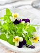 Salat mit Blüten und Sternmiere