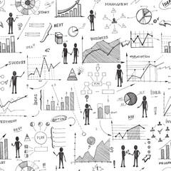 Seamless doodle web infographics background