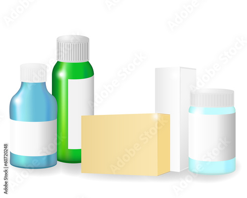 Blank medical bottles and boxes