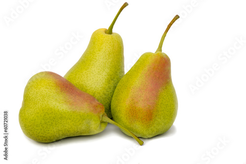 Three large pears on a white background