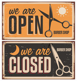 Fototapety Retro door signs for barber shop