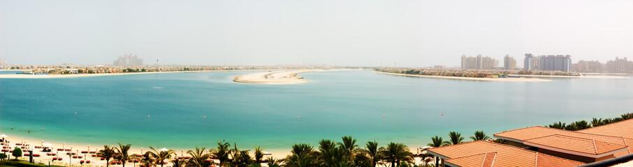 Panorama of the Palm Jumeirah man-made island, Dubai, UAE