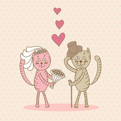 card wedding day love cats