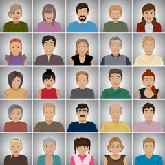People Of Different Ages - Isolated On Gray Background
