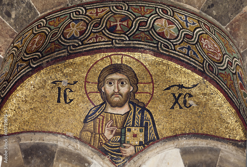 Foto op Canvas Athene Christ.Mosaic of Ossios Loukas Monastery.Greece.