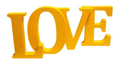Слово Love желтого цвета на изолированном фоне