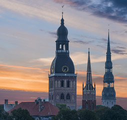 View on churches in old Riga city-capital of Latvia