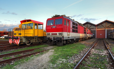 Trains in depot
