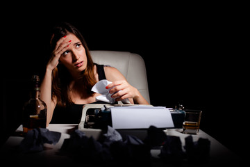 Frustrated writer thinking about her failure