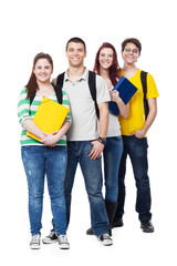 Four Students Smiling on White