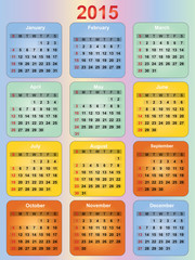 colorful 2015 year calendar