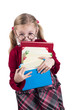 little girl wearing spectacles holds books isolated on white