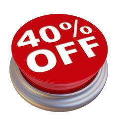 Скидка 40%. Надпись на круглой красной кнопке