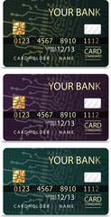Set of 3 credit cardsiv PCB-layout style.