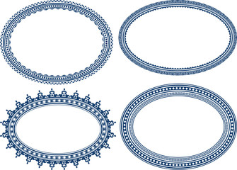 Set of blue oval frames