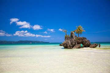 Perfect tropical beach with turquoise water in Boracay