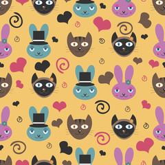 Funny cartoon animals romantic seamless pattern