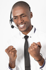 Professional call center agent male is frustrated