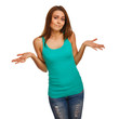 woman girl throws up his hands in doubt isolated on white backgr