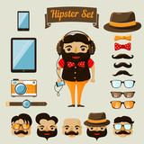 Hipster character elements for nerd boy