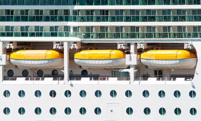 The main deck with lifeboats on the cruise ship